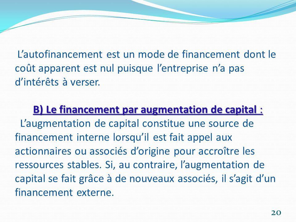 L'autofinancement est un mode de financement dont le coût apparent est nul puisque l'entreprise n'a pas d'intérêts à verser.