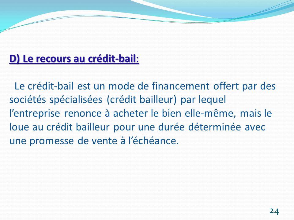 D) Le recours au crédit-bail: Le crédit-bail est un mode de financement offert par des sociétés spécialisées (crédit bailleur) par lequel l'entreprise renonce à acheter le bien elle-même, mais le loue au crédit bailleur pour une durée déterminée avec une promesse de vente à l'échéance.