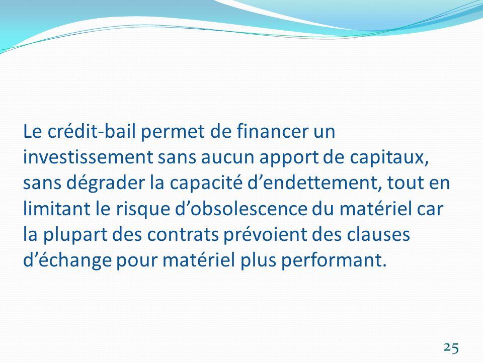 Le crédit-bail permet de financer un investissement sans aucun apport de capitaux, sans dégrader la capacité d'endettement, tout en limitant le risque d'obsolescence du matériel car la plupart des contrats prévoient des clauses d'échange pour matériel plus performant.
