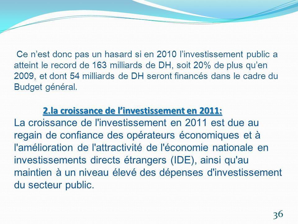 Ce n'est donc pas un hasard si en 2010 l'investissement public a atteint le record de 163 milliards de DH, soit 20% de plus qu'en 2009, et dont 54 milliards de DH seront financés dans le cadre du Budget général.