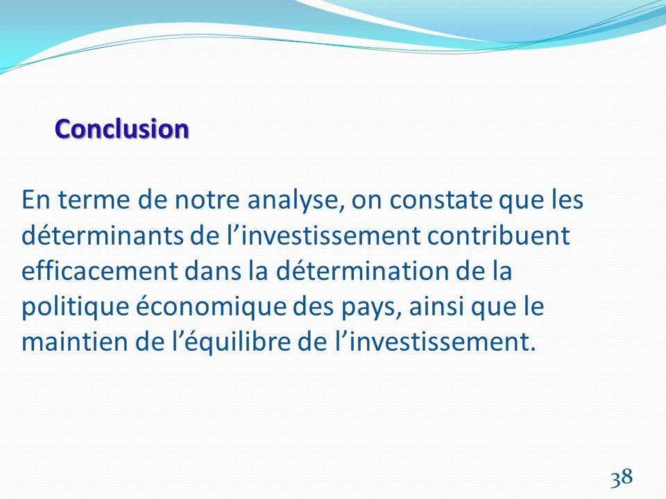 Conclusion En terme de notre analyse, on constate que les déterminants de l'investissement contribuent efficacement dans la détermination de la politique économique des pays, ainsi que le maintien de l'équilibre de l'investissement.