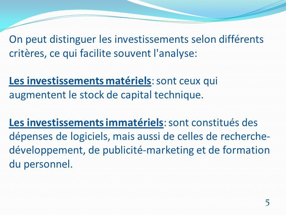 On peut distinguer les investissements selon différents critères, ce qui facilite souvent l analyse: Les investissements matériels: sont ceux qui augmentent le stock de capital technique.
