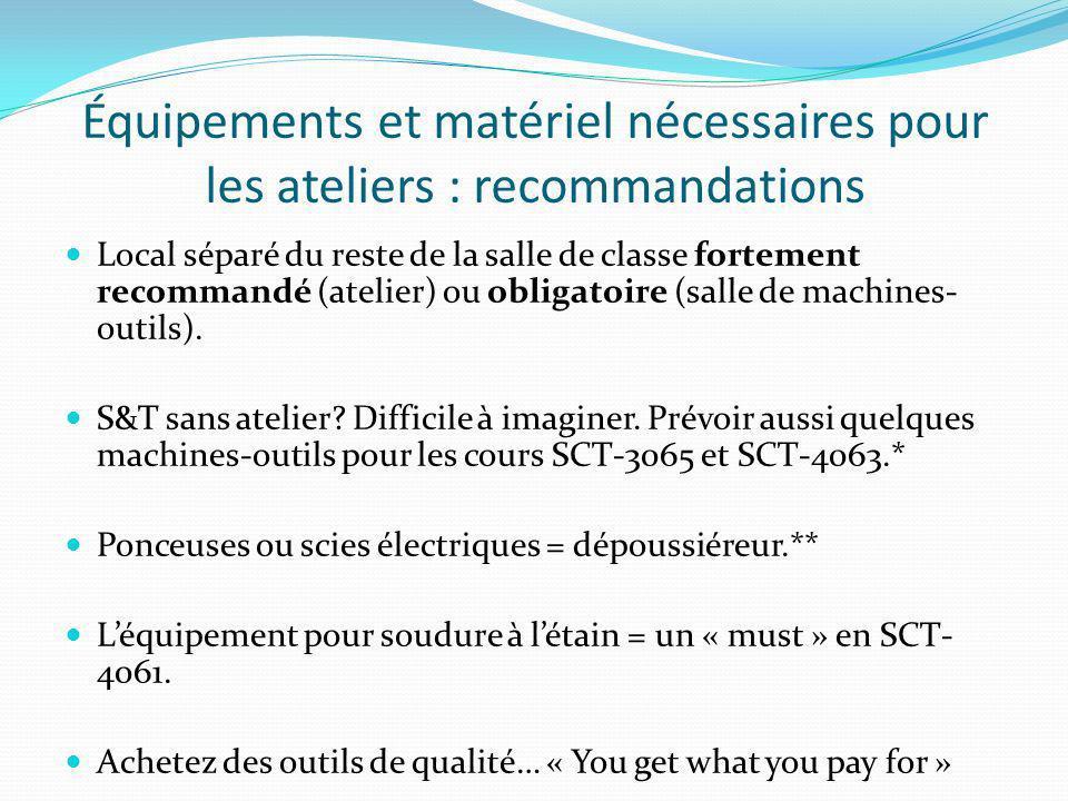 Équipements et matériel nécessaires pour les ateliers : recommandations