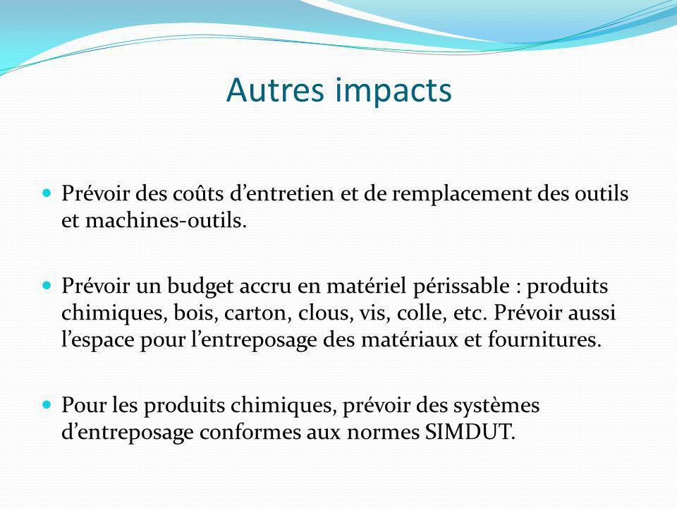 Autres impacts Prévoir des coûts d'entretien et de remplacement des outils et machines-outils.
