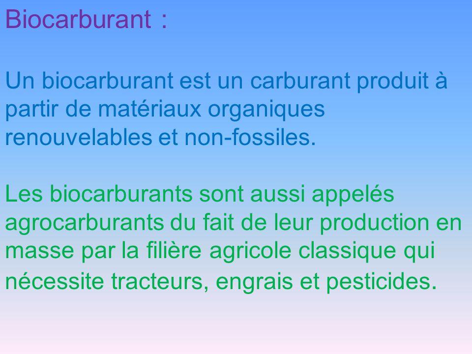 Biocarburant : Un biocarburant est un carburant produit à partir de matériaux organiques renouvelables et non-fossiles.