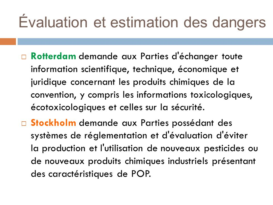Évaluation et estimation des dangers