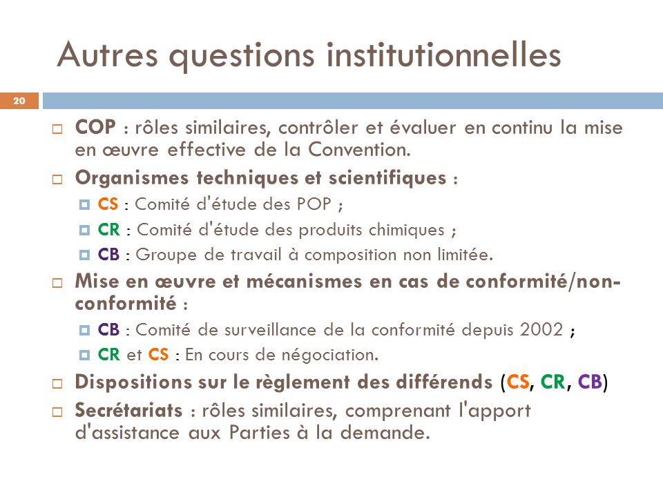 Autres questions institutionnelles