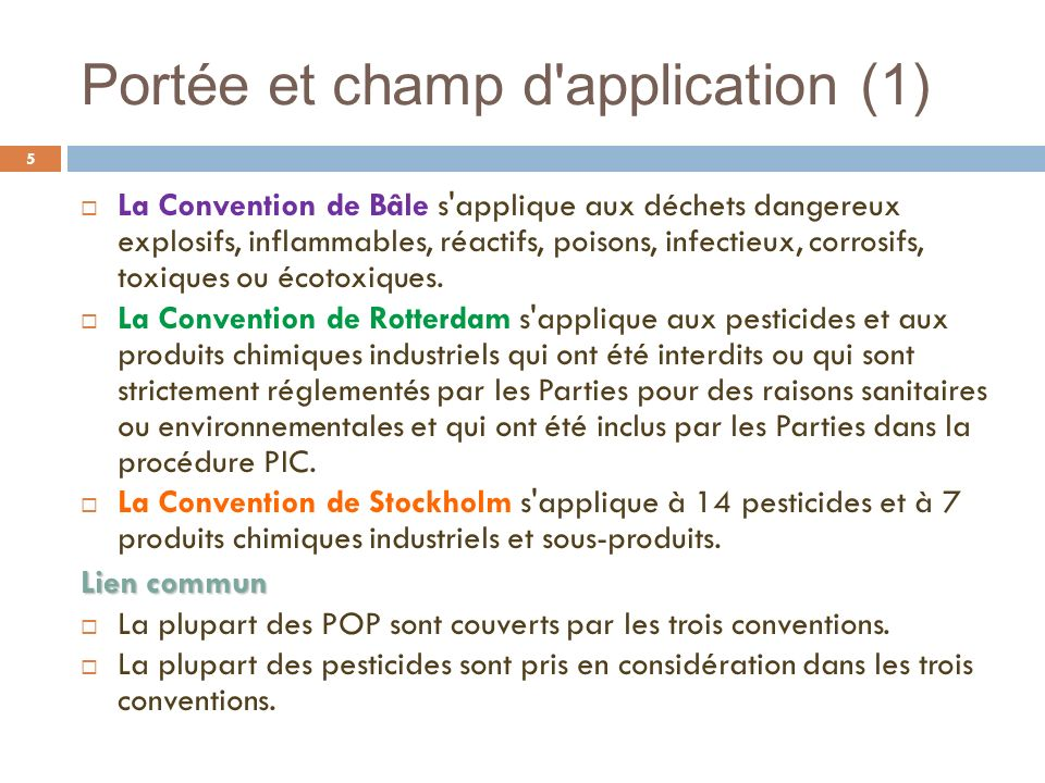 Portée et champ d application (1)
