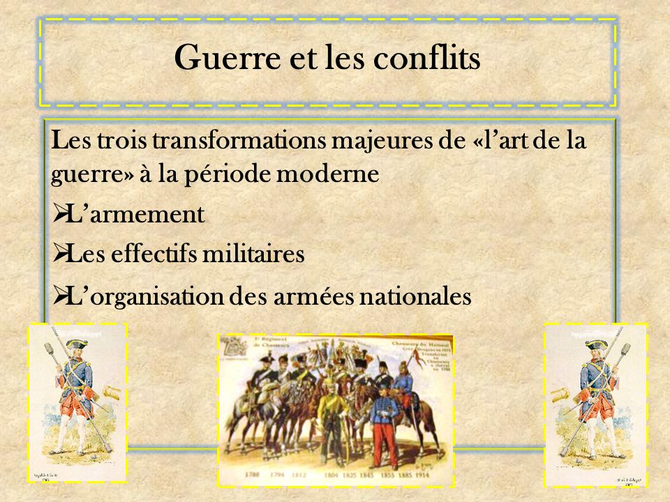 Guerre et les conflits Les trois transformations majeures de «l'art de la guerre» à la période moderne.