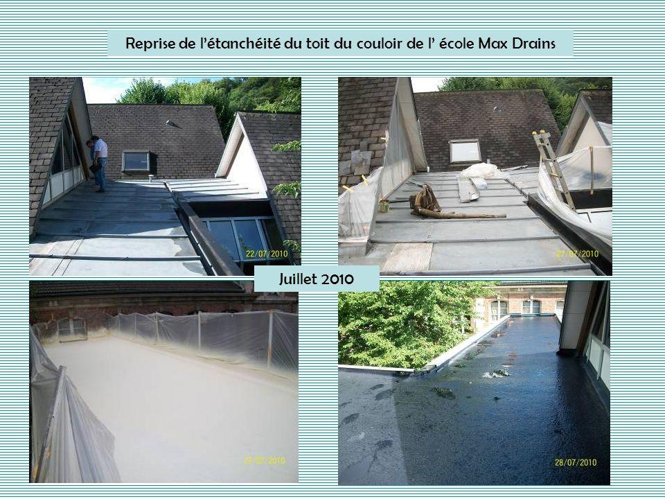 Reprise de l'étanchéité du toit du couloir de l' école Max Drains