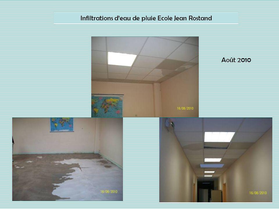 Infiltrations d'eau de pluie Ecole Jean Rostand
