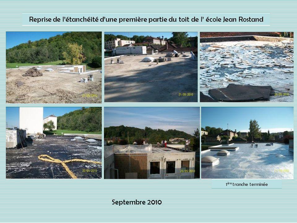 Reprise de l'étanchéité d'une première partie du toit de l' école Jean Rostand