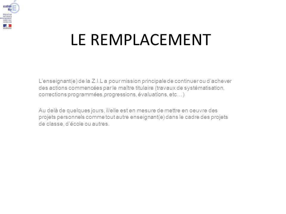 LE REMPLACEMENT
