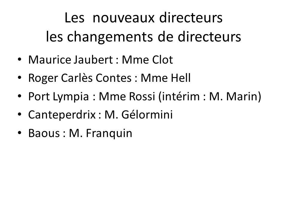 Les nouveaux directeurs les changements de directeurs