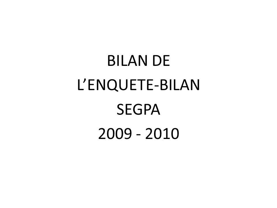 BILAN DE L'ENQUETE-BILAN SEGPA 2009 - 2010