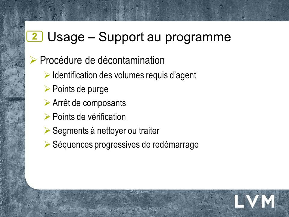 Usage – Support au programme