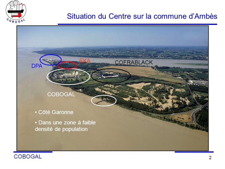Situation du Centre sur la commune d'Ambès
