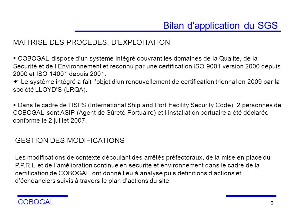 Bilan d'application du SGS