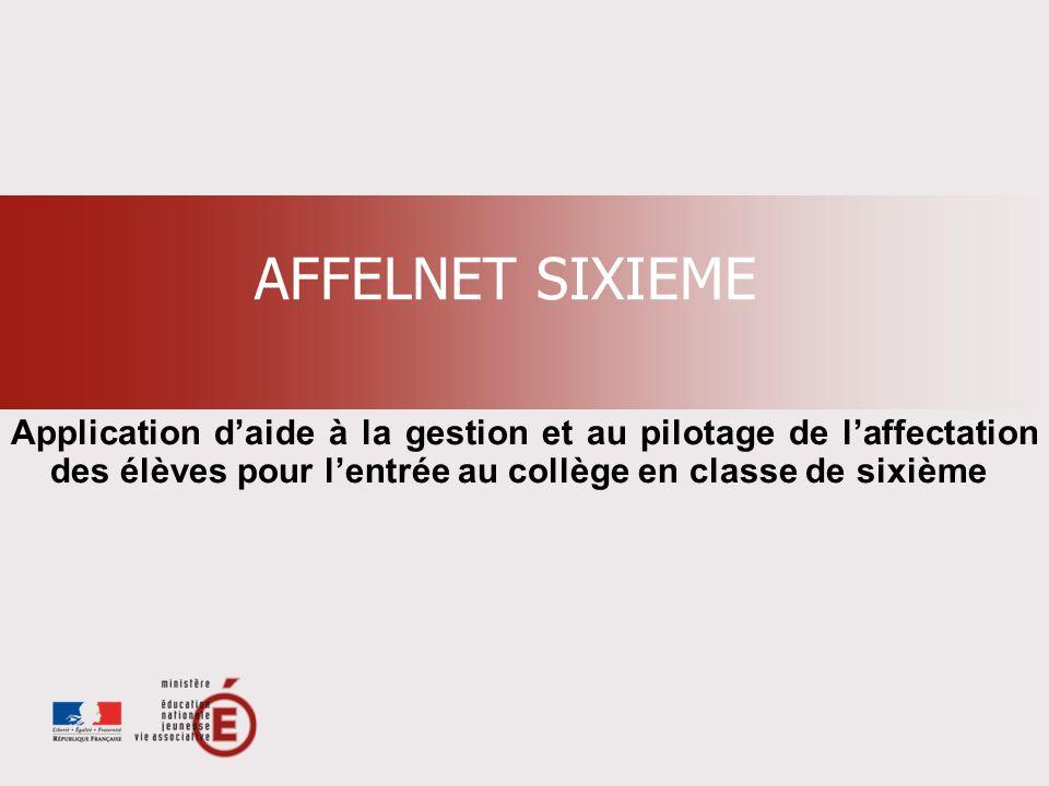 AFFELNET SIXIEME Application d'aide à la gestion et au pilotage de l'affectation des élèves pour l'entrée au collège en classe de sixième.