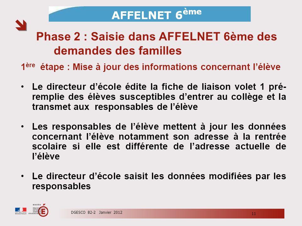 Phase 2 : Saisie dans AFFELNET 6ème des demandes des familles