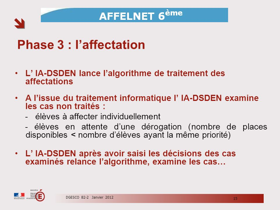 Phase 3 : l'affectation L' IA-DSDEN lance l'algorithme de traitement des affectations.