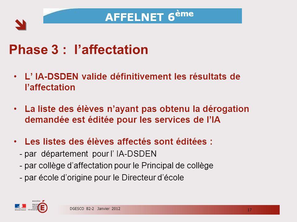 Phase 3 : l'affectation L' IA-DSDEN valide définitivement les résultats de l'affectation.