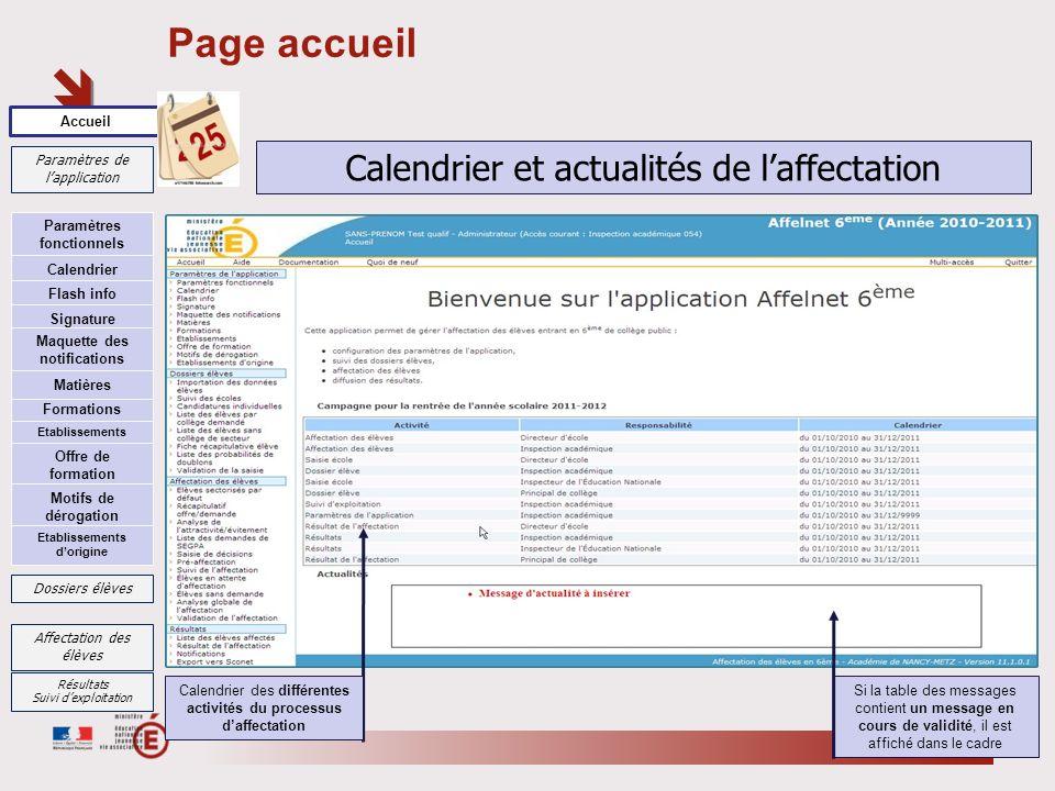 Page accueil Calendrier et actualités de l'affectation Accueil