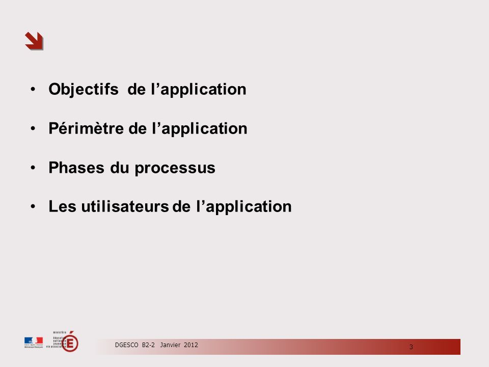 Objectifs de l'application Périmètre de l'application