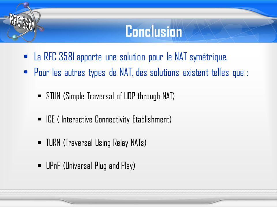 Conclusion La RFC 3581 apporte une solution pour le NAT symétrique.