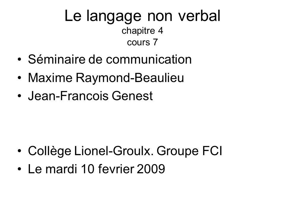 Le langage non verbal chapitre 4 cours 7