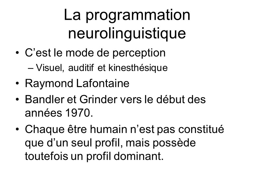 La programmation neurolinguistique