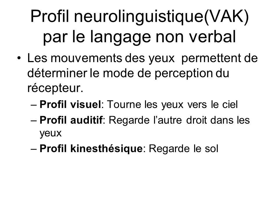 Profil neurolinguistique(VAK) par le langage non verbal