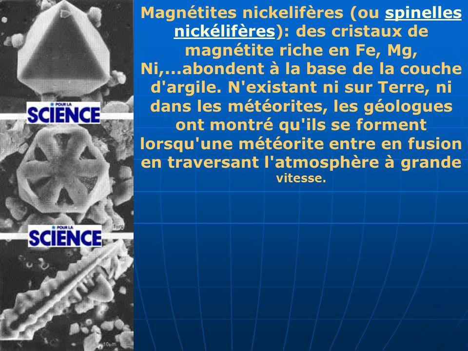 Magnétites nickelifères (ou spinelles nickélifères): des cristaux de magnétite riche en Fe, Mg, Ni,...abondent à la base de la couche d argile.