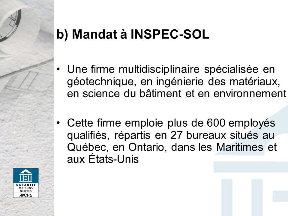 b) Mandat à INSPEC-SOL
