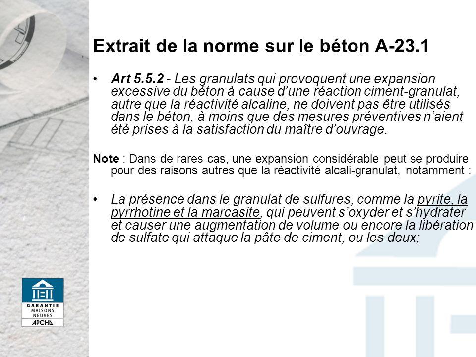 Extrait de la norme sur le béton A-23.1