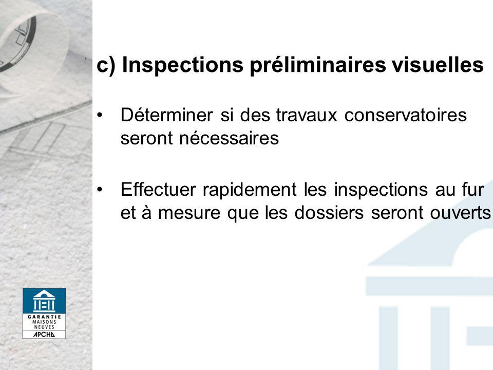 c) Inspections préliminaires visuelles