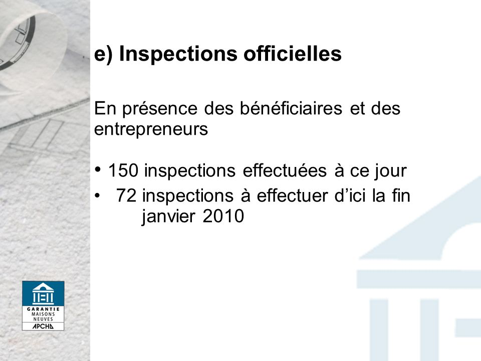 e) Inspections officielles