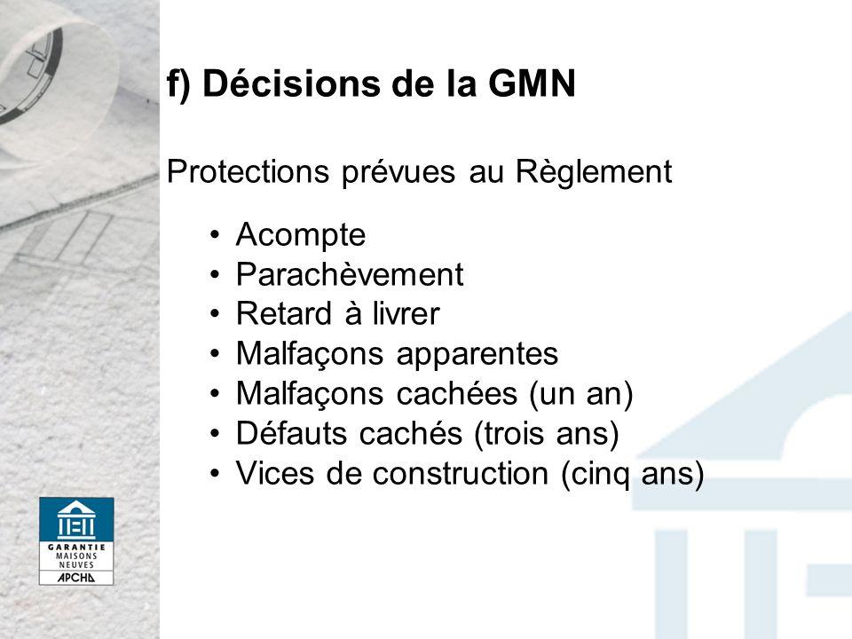 f) Décisions de la GMN Protections prévues au Règlement Acompte