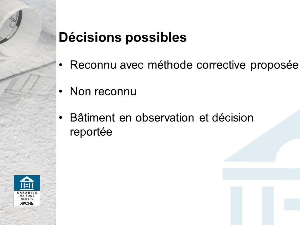 Décisions possibles Reconnu avec méthode corrective proposée