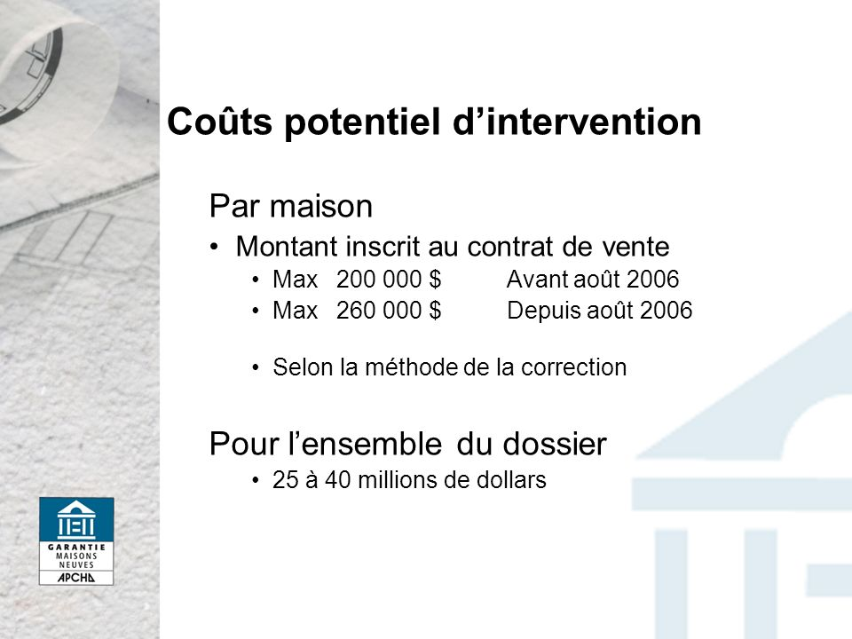 Coûts potentiel d'intervention