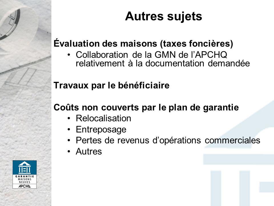 Autres sujets Évaluation des maisons (taxes foncières)