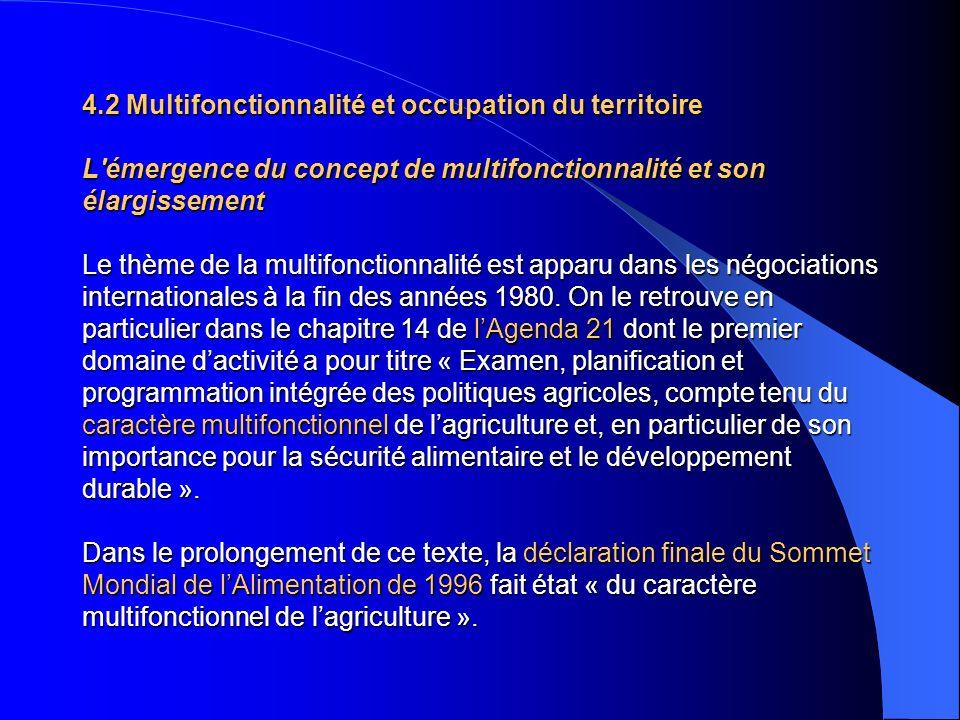 4.2 Multifonctionnalité et occupation du territoire L émergence du concept de multifonctionnalité et son élargissement Le thème de la multifonctionnalité est apparu dans les négociations internationales à la fin des années 1980.