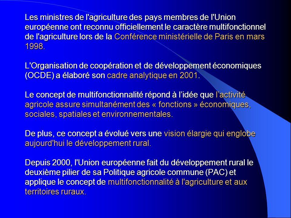 Les ministres de l agriculture des pays membres de l Union européenne ont reconnu officiellement le caractère multifonctionnel de l agriculture lors de la Conférence ministérielle de Paris en mars 1998.
