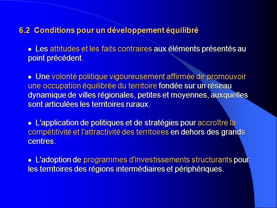 6.2 Conditions pour un développement équilibré · Les attitudes et les faits contraires aux éléments présentés au point précédent.
