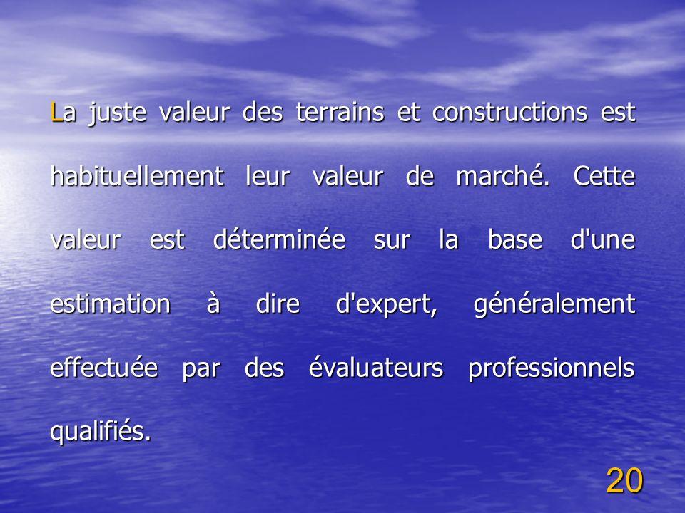 La juste valeur des terrains et constructions est habituellement leur valeur de marché.