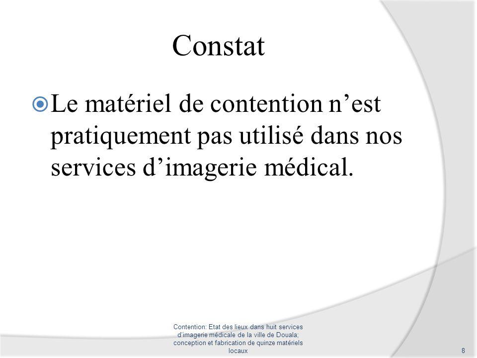 Constat Le matériel de contention n'est pratiquement pas utilisé dans nos services d'imagerie médical.