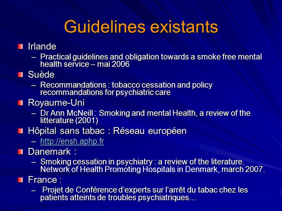 Guidelines existants Irlande Suède Royaume-Uni