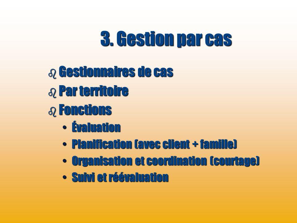 3. Gestion par cas Gestionnaires de cas Par territoire Fonctions