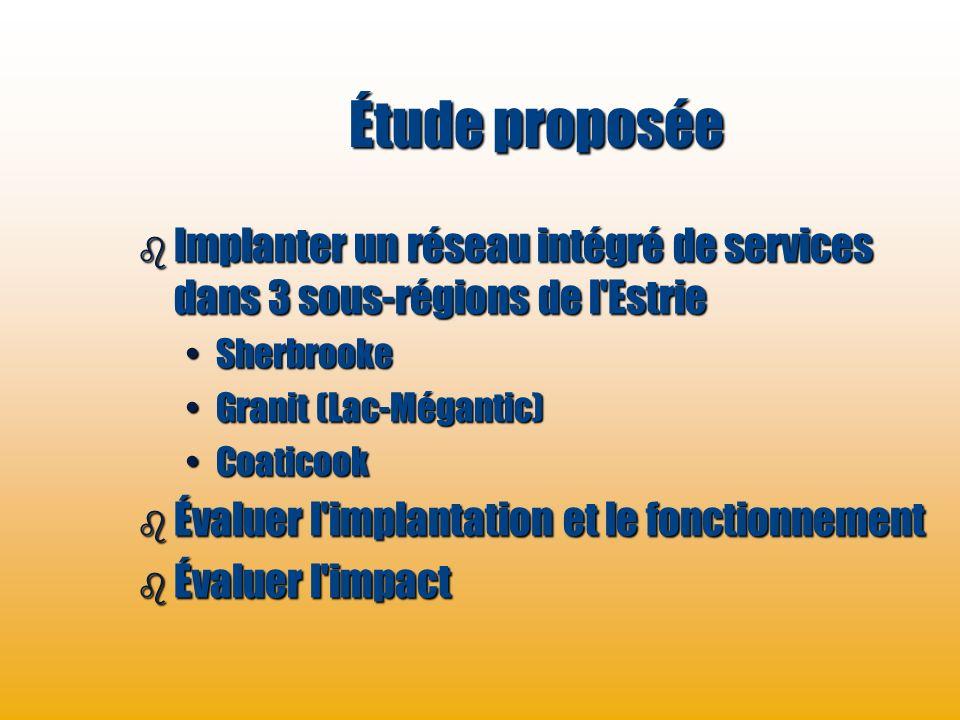 Étude proposée Implanter un réseau intégré de services dans 3 sous-régions de l Estrie. Sherbrooke.