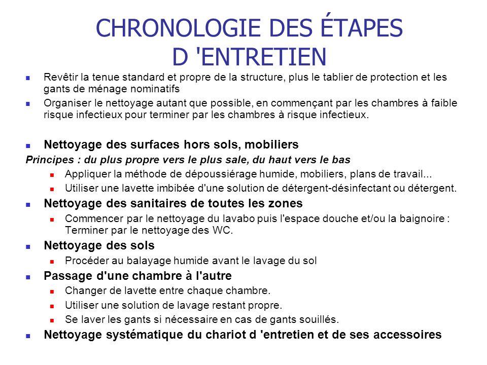 CHRONOLOGIE DES ÉTAPES D ENTRETIEN